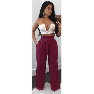 Flow With Me Pants - Burgundy